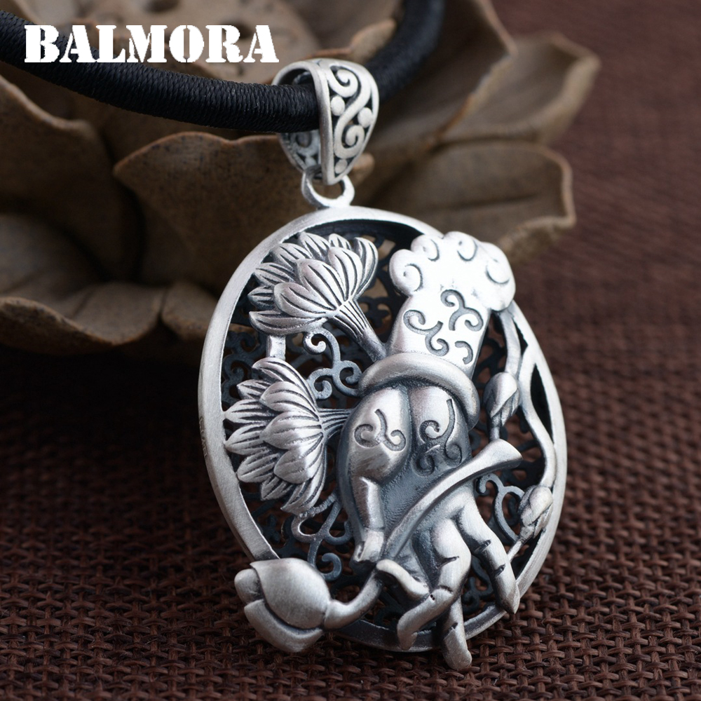 BALMORA 100 990 Pure Silver Vintage Hand Flower Pendants For Women Men Gift Buddhistic 990 Silver