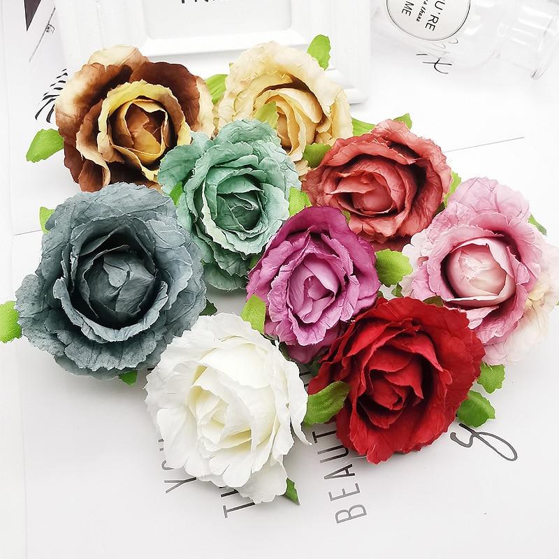 10 pçs/lote DIY acessórios feitos à mão flor rosa de seda flor cabeça casamento deocration rosas flor mini rosa artificial guirlanda de flores secas