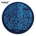 Yzwle Hot Nail Art venta placa de acero inoxidable imagen placas estampación sello DIY plantilla de manicura esmalte de uñas herramientas ( JQ-42 )