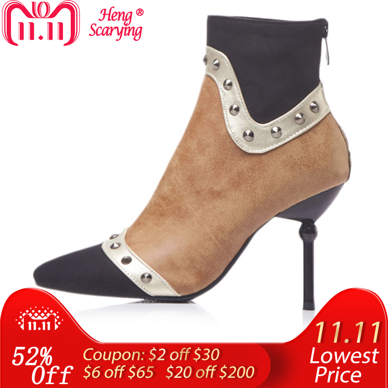 2018 Plus Size 48 Women 9cm High Heels Ankle Rivets Fetish Boots Stiletto Heels Winter Boots Party Suede Stiletto Studded Shoes