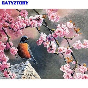 GATYZTORY غير المؤطرة محظوظ الطيور دهان داي بواسطة أرقام الحديثة الجدار صورة فنية الاكريليك الطلاء الفريد هدية ل ديكور المنزل 40x50 سنتيمتر