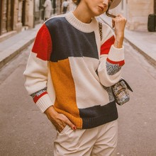 Sweater Knitwear O-Neck Blouse Stitching Patchwork-Top Geometric Knot Long-Sleeve Street-Style