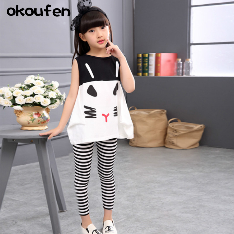 okoufen 2018 baby girl clothes body suit summer girl cartoon shirt Zebra stripes pants suit children kids clothing sets in Clothing Sets from Mother Kids