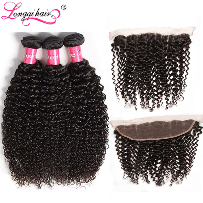 Longqi Hair Brazilian Curly Bundles with Frontal Remy Human Hair Frontal with Bundles 13x4 Pre Plucked