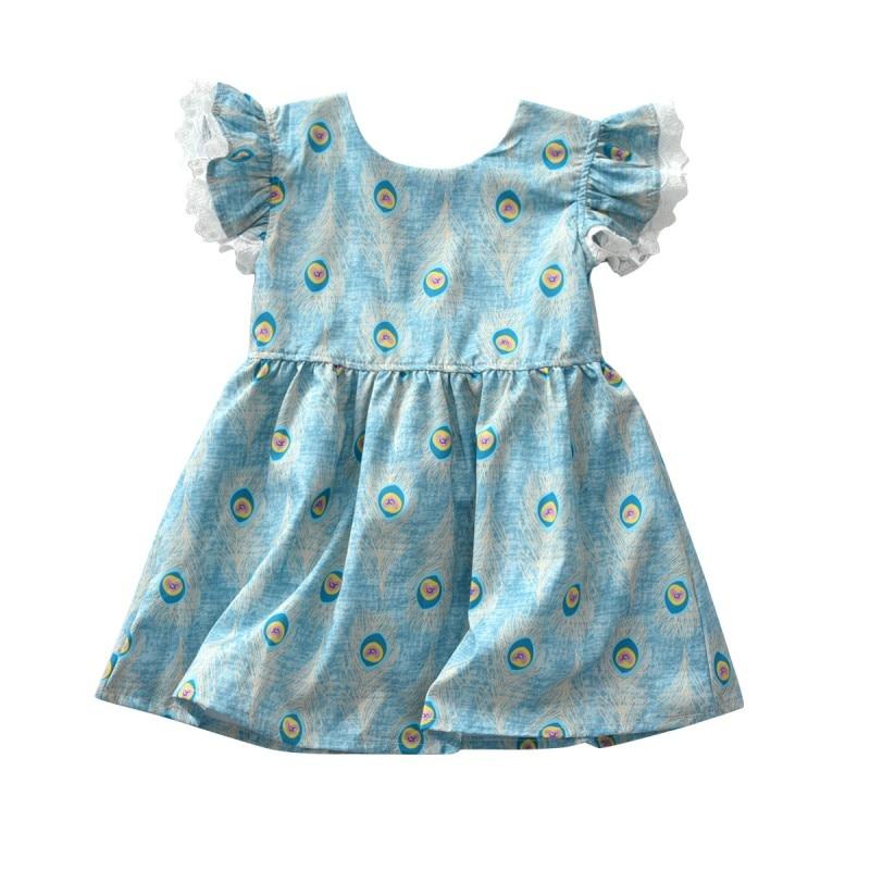 2018 Fashion Kid Dress Summer Hot Sale Baby Girls Peacock Print Short Sleeve Dresses Casual Cute Flying Sleeve Dress 3-8T H1