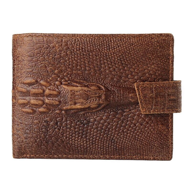JINBAOLAI Brand Men's Wallets Money Purse Crazy Horse Leather Men Wallets with Coin Pocket Crocodile Pattern Card Holder Purses
