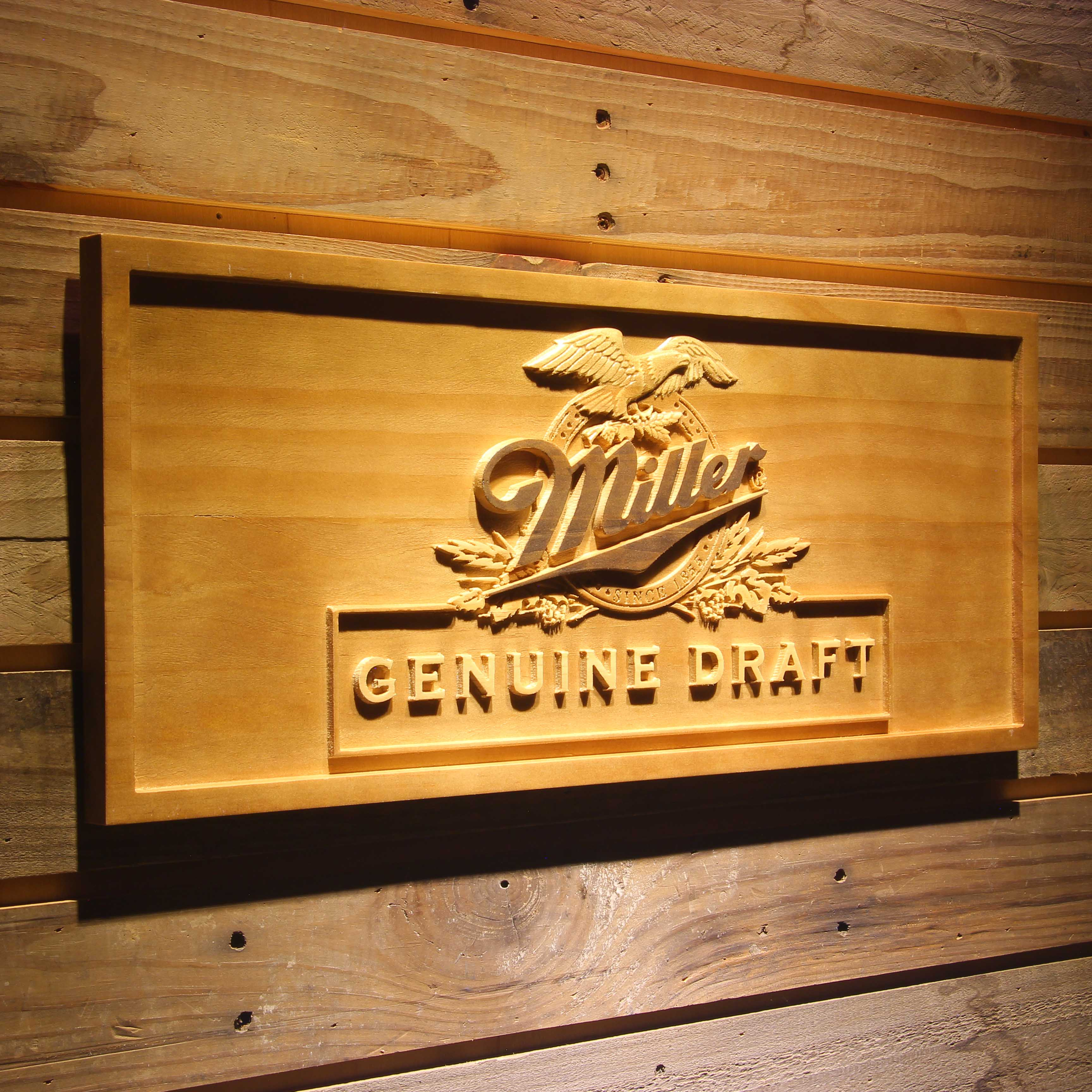 Miller Eagle Genuine Draft Beer 3D Wooden Sign