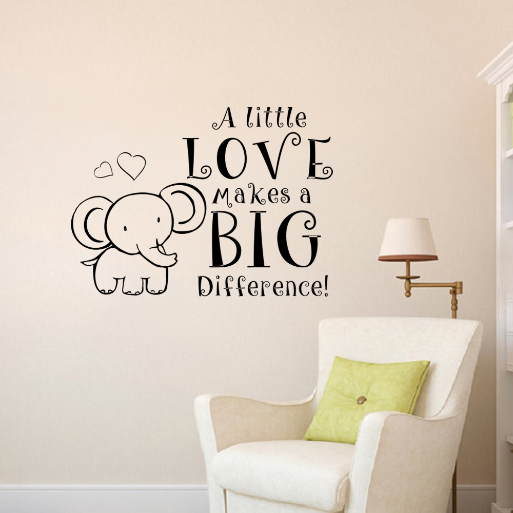 A Little Love Makes Difference Elephant Wall Decal Baby Nursery Vinyl Bedroom Sticker 40 6cm X56cm In Stickers From Home Garden On
