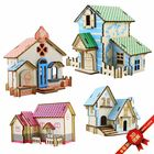 DIY Laser Simulation Cabin Wooden Children 3D Puzzle Handmade Toy Wooden House Model DIY Puzzle Jigsaw Kids Educational Toys