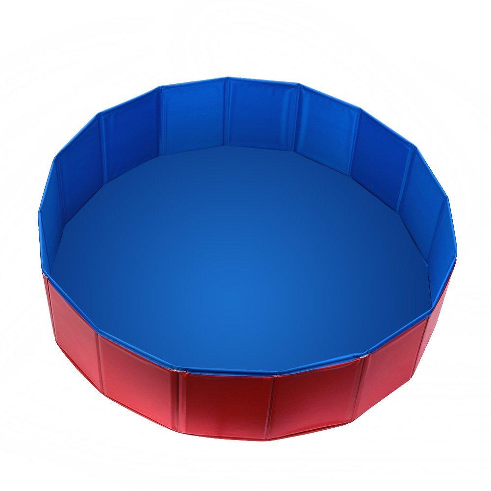 Foldable PVC Pet Swimming Pool Bathing Tub Bathtub Dog Cats Washer 32inch.D x 8inch.H Red