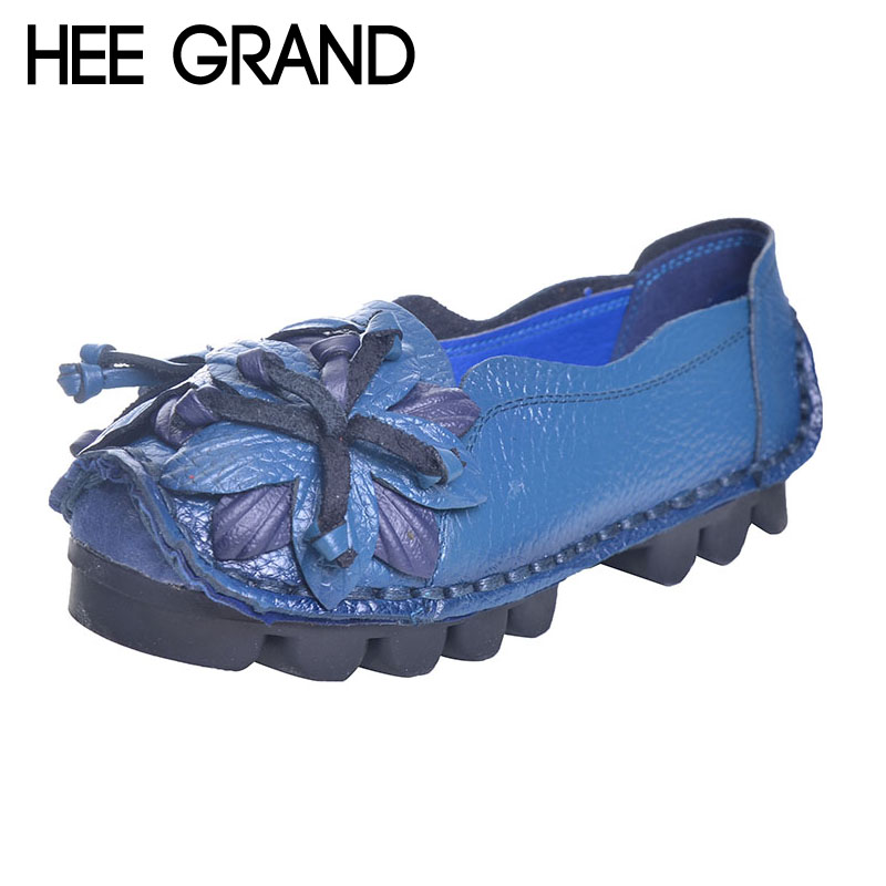 HEE GRAND Loafers Woman Super Soft PU Leather Flats Anti-Slippy Flower Bright Color Shoes Pregnant Vintage Women's Shoes XWD3284 vintage embroidery women flats chinese floral canvas embroidered shoes national old beijing cloth single dance soft flats