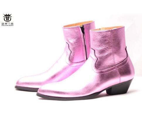 Con Hombre Para Cuero Showed De Superior Fiesta Genuino Botas Cremallera Los Brillante Zapatillas Lateral 2019 Zapatos Calidad Rosa Tacón Hombres Bajo As Fr Lancelot Boda RqwA0x1F7