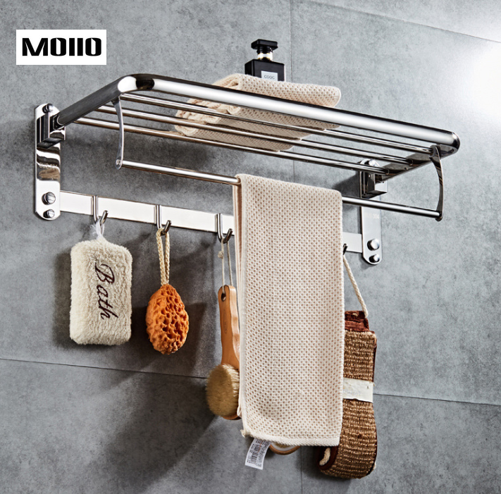 MOIIO Bathroom Accessories Basket For Shampoo With Soap Holder And Hooks Stainless Steel Holder For Bathroom Storage