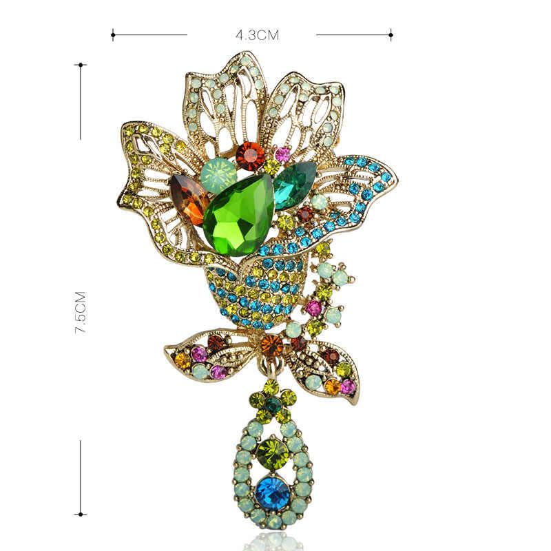 Merek Desain Besar Bunga Bros untuk Wanita Elegan Rhinestone Pernikahan Selendang Jilbab Pin C C Wanita Bros Perhiasan Berwarna-warni Inggris
