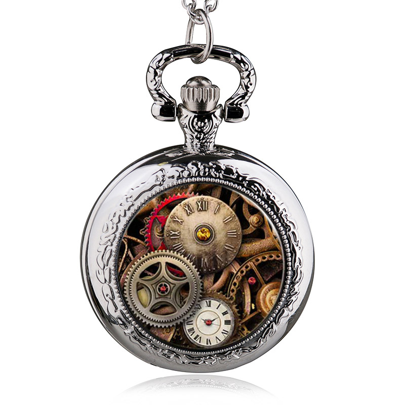 New Arrival Vintage Bronze/Silver/Black Glass Gear Skeleton Steampunk Locket Necklace Pocket Watch Pendant Necklace(China)