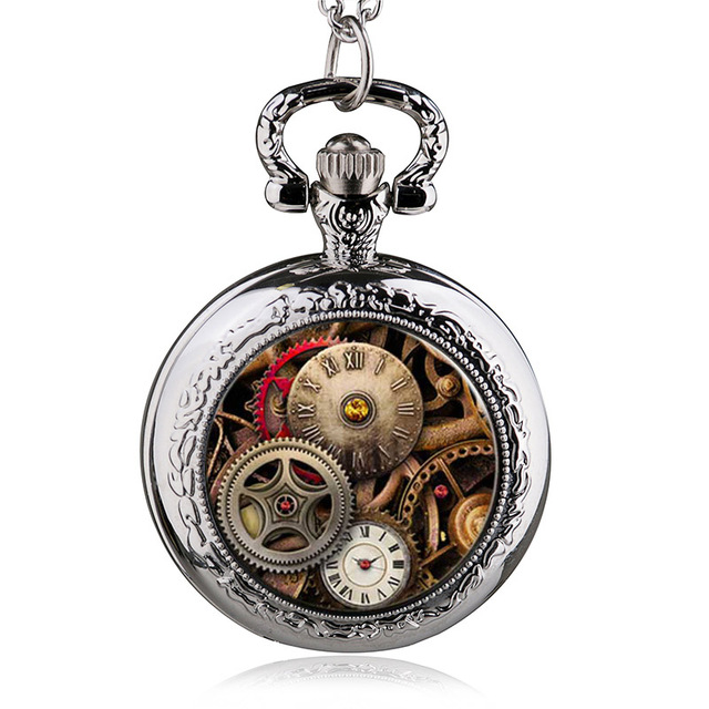 a54d608ab7c Chegada nova Vintage Bronze Prata Preto Engrenagem Esqueleto Steampunk  Vidro Medalhão Colar Relógio de