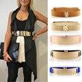 Elástico Espejo Metal Correa de Cintura Metálica Bling Placa de Oro Amplia Banda De la Mujer Accesorios Damas