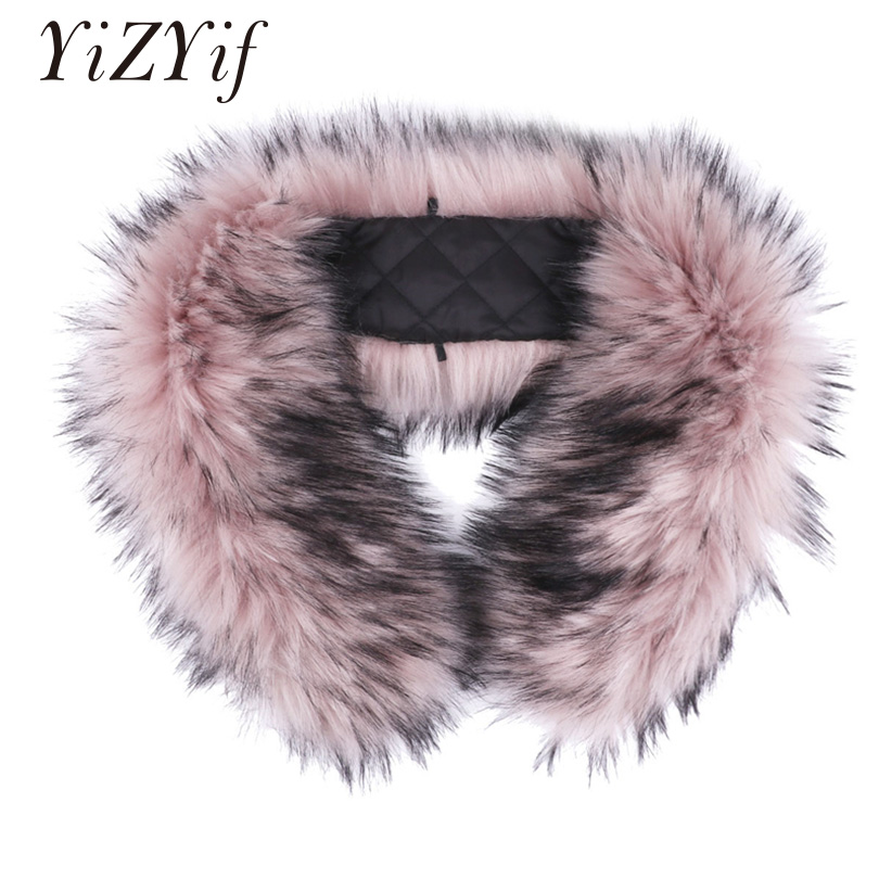 YiZYiF Coat's faux fur Trim Hood Faux Fake Fur Hood Winter fake collar for Collar Wrap Shawl Warmer Scarf Wrap faux fur collar