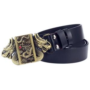 Image 1 - Cinturón de cuero con hebilla más ligera para hombre, cinturón con hebilla de dragón, de piel de vaca auténtica, encendedor de cigarrillos de gas