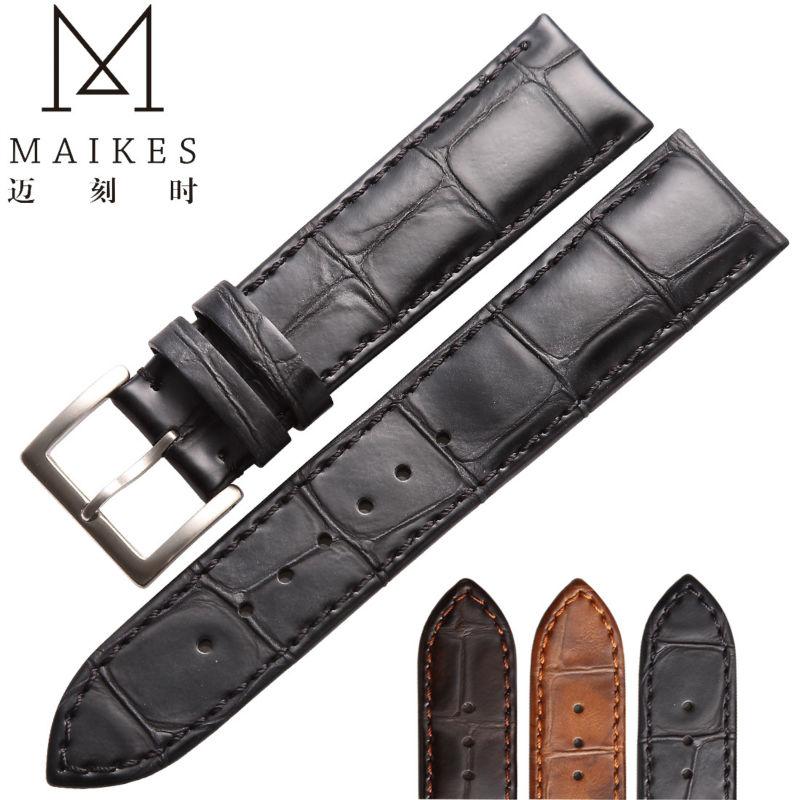 MAIKES HQ 18 19 20 22mm Montre Accessoires Bracelets véritable Bracelet En Cuir bande de Montre Noir Avec 316L En Acier Inoxydable boucle