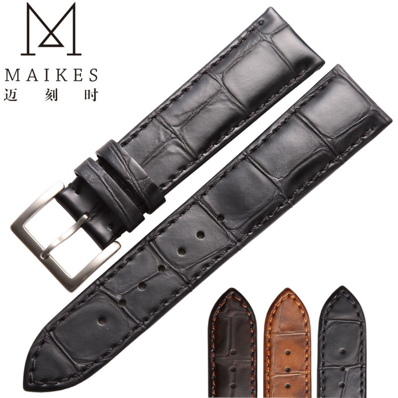MAIKES HQ 18 19 20 22 mm Watch Accessories Watchbands Genuine Leather Strap Watch band Black With 316L Stainless Steel Buckle maikes hq 16 18 20 22 24 mm genuine alligator leather strap watch band brown with pin buckle men watchbands bracelet accessories