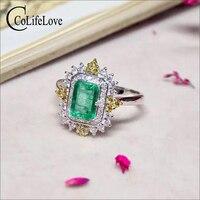 Королевский дизайн изумрудно серебряное кольцо для обручальных 4 мм * 6 мм Природный SI класса изумруд кольцо 925 пробы изумруд ювелирные издел
