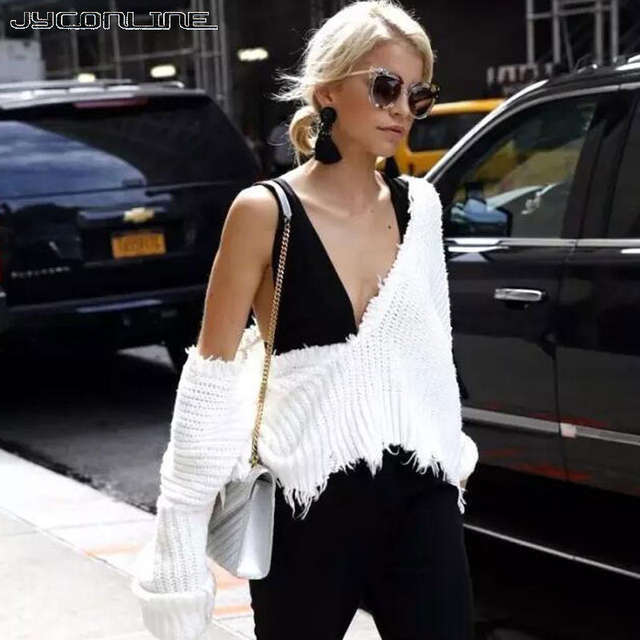 c86a693633 placeholder JYConline Sexy Knitted Sweater Women Jumper Black White V-neck  Ripped Pullover Sweater Pull Femme