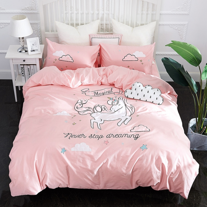 New Pink Unicorn Bedding Sets Embroidery Bed Set Double Twin Queen King Size Duvet Cover Sheet Pillowcase