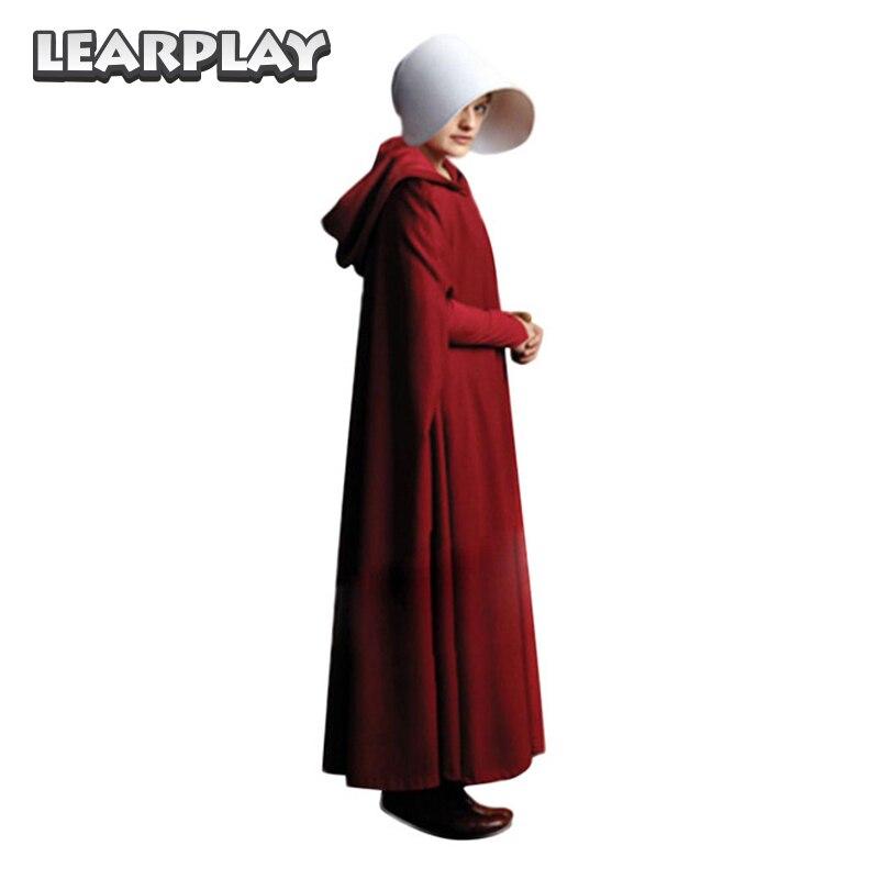 Conte de la servante Cosplay deguisement Offred robes longues Cape Halloween carnaval femmes Cape rouge chapeau sac ensemble complet Costume de robe de fête