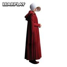 Il Handmaid delle Tale Cosplay Offred Costume Lungo Abiti Mantello di Halloween di Carnevale Delle Donne Mantello Rosso Cappello Bag Set Completo Del Partito abito Vestito