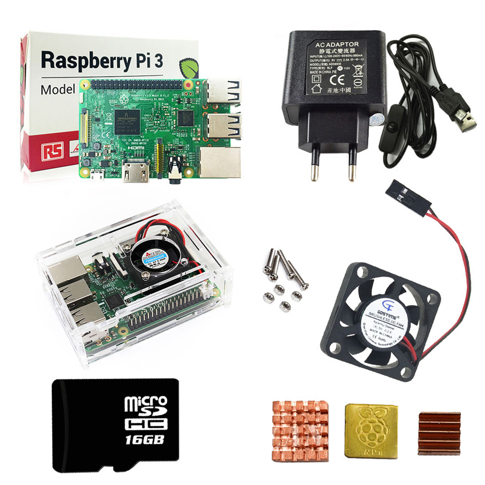 Raspberry Pi 3 комплект + акриловый чехол + EU блок питания + USB кабель с переключателем + 16G micro SD карта + теплоотвод с Wi-Fi Bluetooth