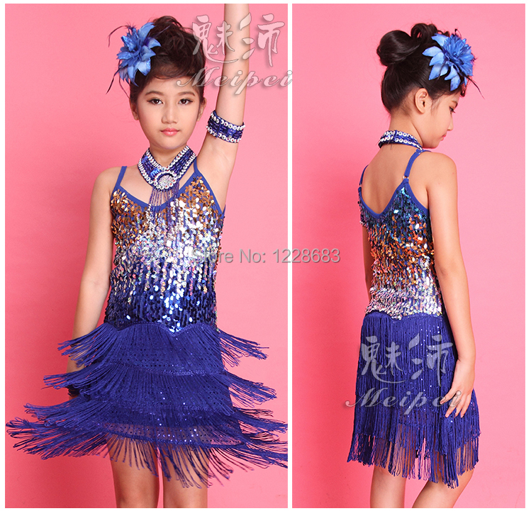 Hot Sale New Girls Children Salsa Performance Dresses Rainbow Sequin Fringe Latin Dance Dresses For Sale