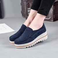 Women Flats 2018 Spring Women Sneakers Genuine Leather Shoes Women Platform Flat Shoes Plus Size 35