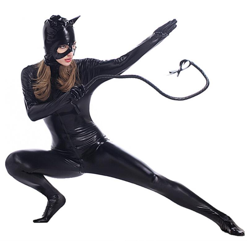 M-2XL Black Faux Leather Bodysuit Sexy Zipper to Crotch PVC Latex Jumpsuit Catsuit Cosplay Halloween Catwomen Costume