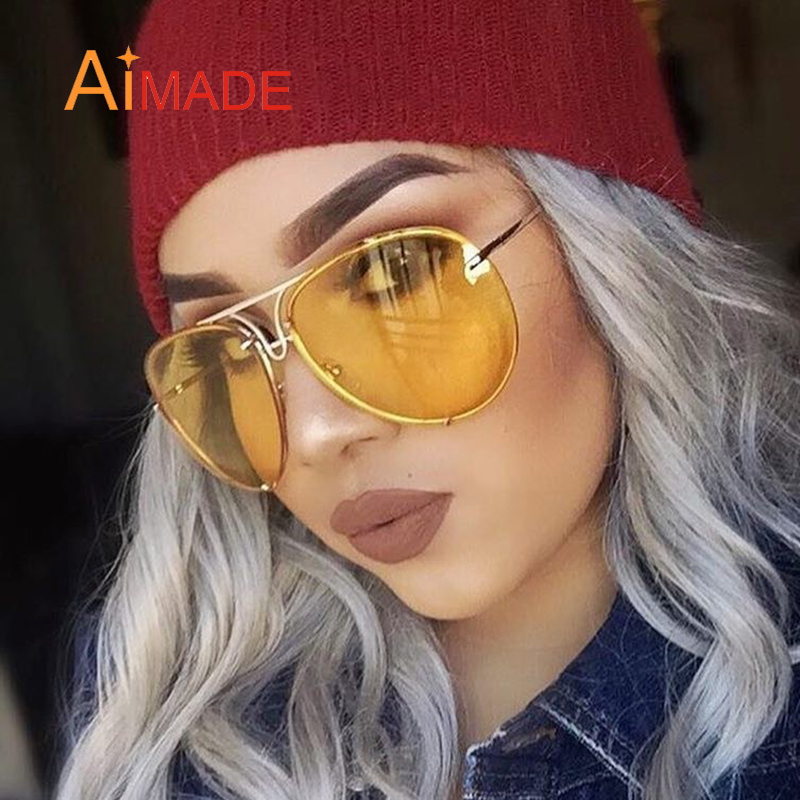 3cd3a4b2253 Aimade Fashion Oversize Hollow Hexagon Sunglasses For Women Unique Twin-Beams  Metal Frame Female Big Mirror ...