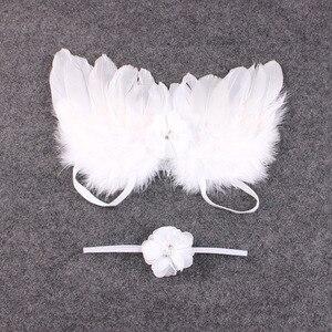 Модный детский ободок с пером и кружевом и крыльями ангела, реквизит для фотосъемки новорожденных