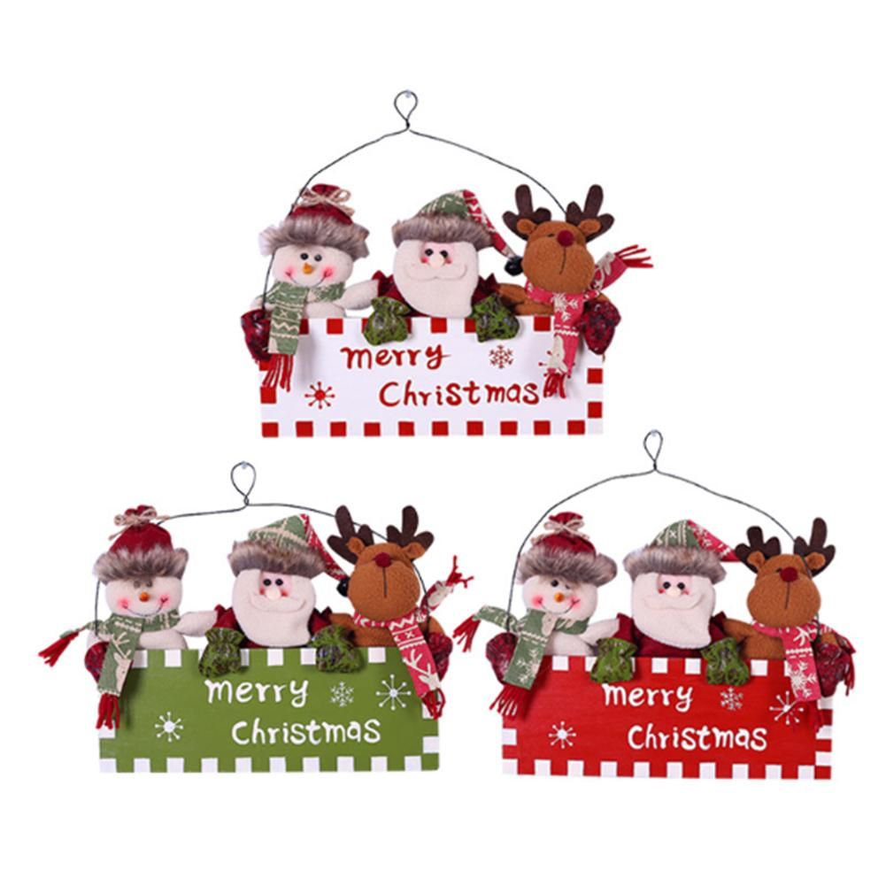 2018 Christmas Ornaments Cute Wooden Santa Claus Snowman Reindeer Xmas Tree Hanging Decorations Door Wall Pendant