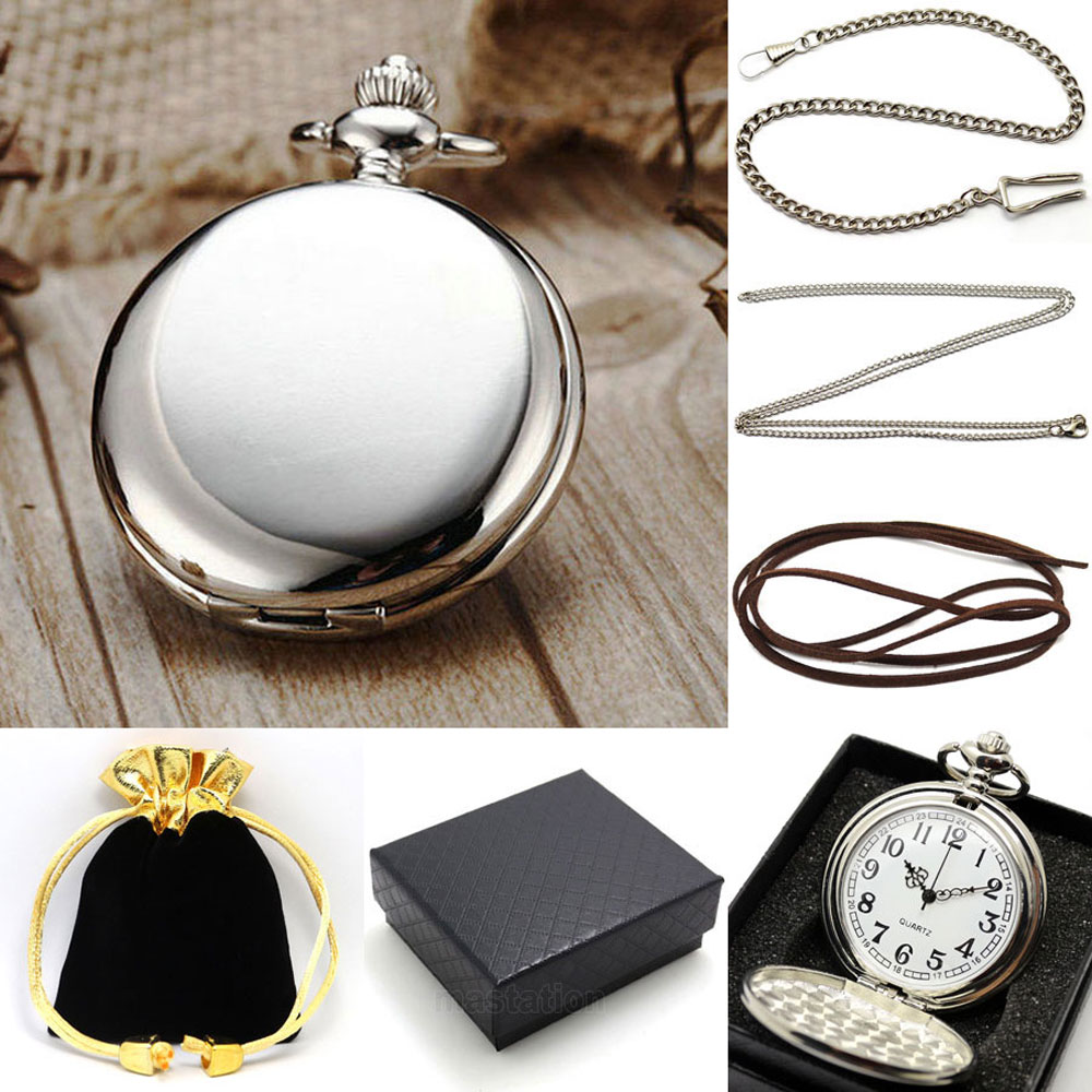 Men's Pocket Watch Set Sliver Bleck Smooth Mirror Pendant Chain Quartz Watches Women Gift Bag Box Necklace Set P300CKWB