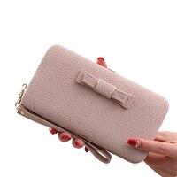 Colorful Bowknot Pendant PU Leather Long Design Women Wallet Coin Purse Ladies Handbag Day Clutch Bag