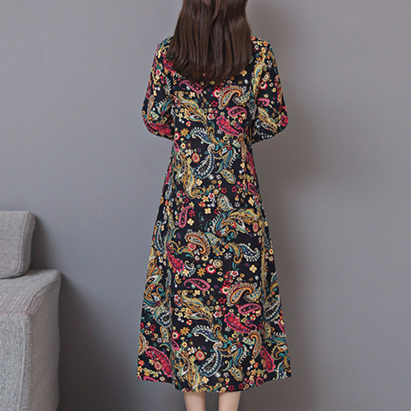 Cotton Linen Autumn dress office Lady Loose Plus size Long dress Women's Dresses