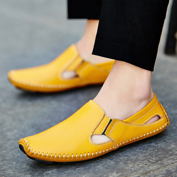 Casual Fashion Men Leather Driving Shoes Plus Size 45 46 47 Sewing Design Men Light Soft Loafers Slip-on Footwear