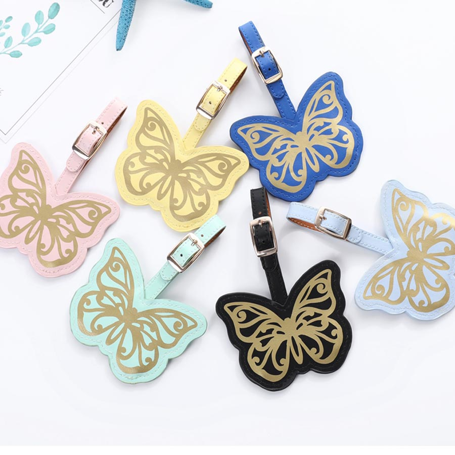 Leather Suitcase Lovely Butterfly Luggage Tag Label Bag Pendant Handbag Portable Travel Accessories Name ID Address Tags LT25A