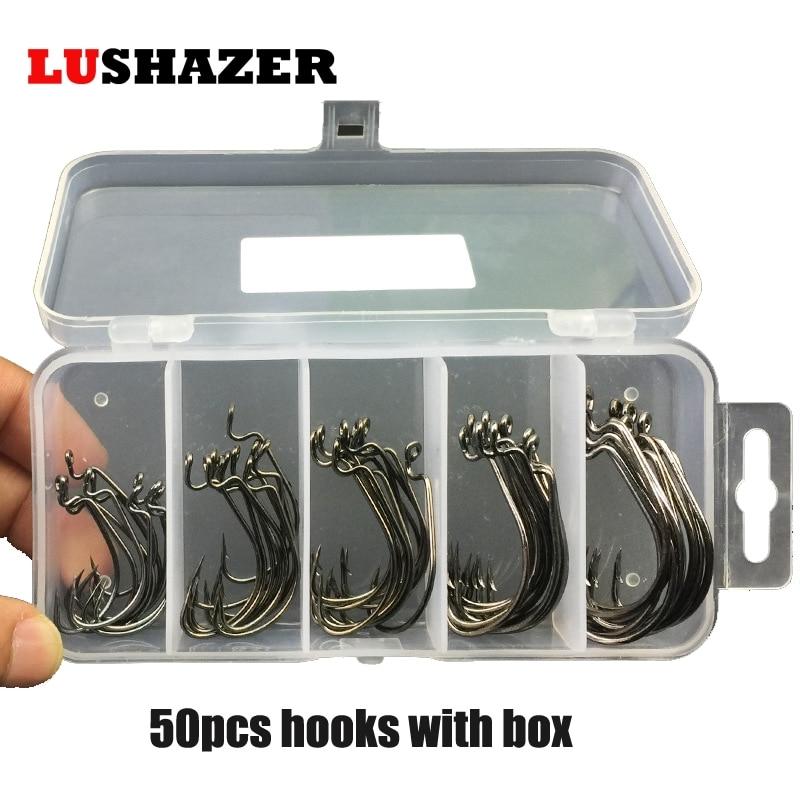 50pcs/lot sea hooks Fishing box LUSHAZER offset hook 2#1#1/0#2/0#3/0# carp snap fishing big hooks tackles accessories fishhook