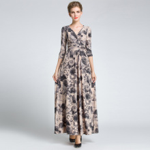 High Quality Beige Womens Vintage Floral Long Dress Autumn/Winter 3/4 Sleeve Party Prom Gown