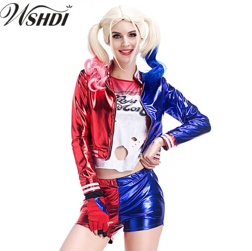 S-XL Adult Female Suicide Squad Harley Quinn Costume Cosplay Full Set Harley Quinn Fancy Outfit Halloween Cosplay Clown Clothing