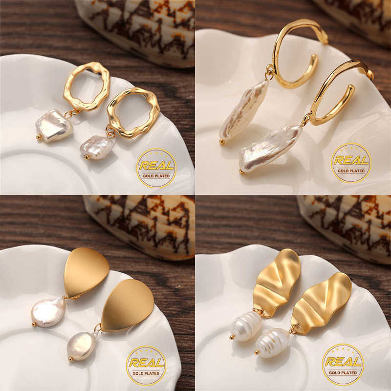 IF YOU Fashion Korean Natural Freshwater Pearl Dangle Earrings For Women Girl Irregular Gold Color Earring Brincos Gift 2019 New
