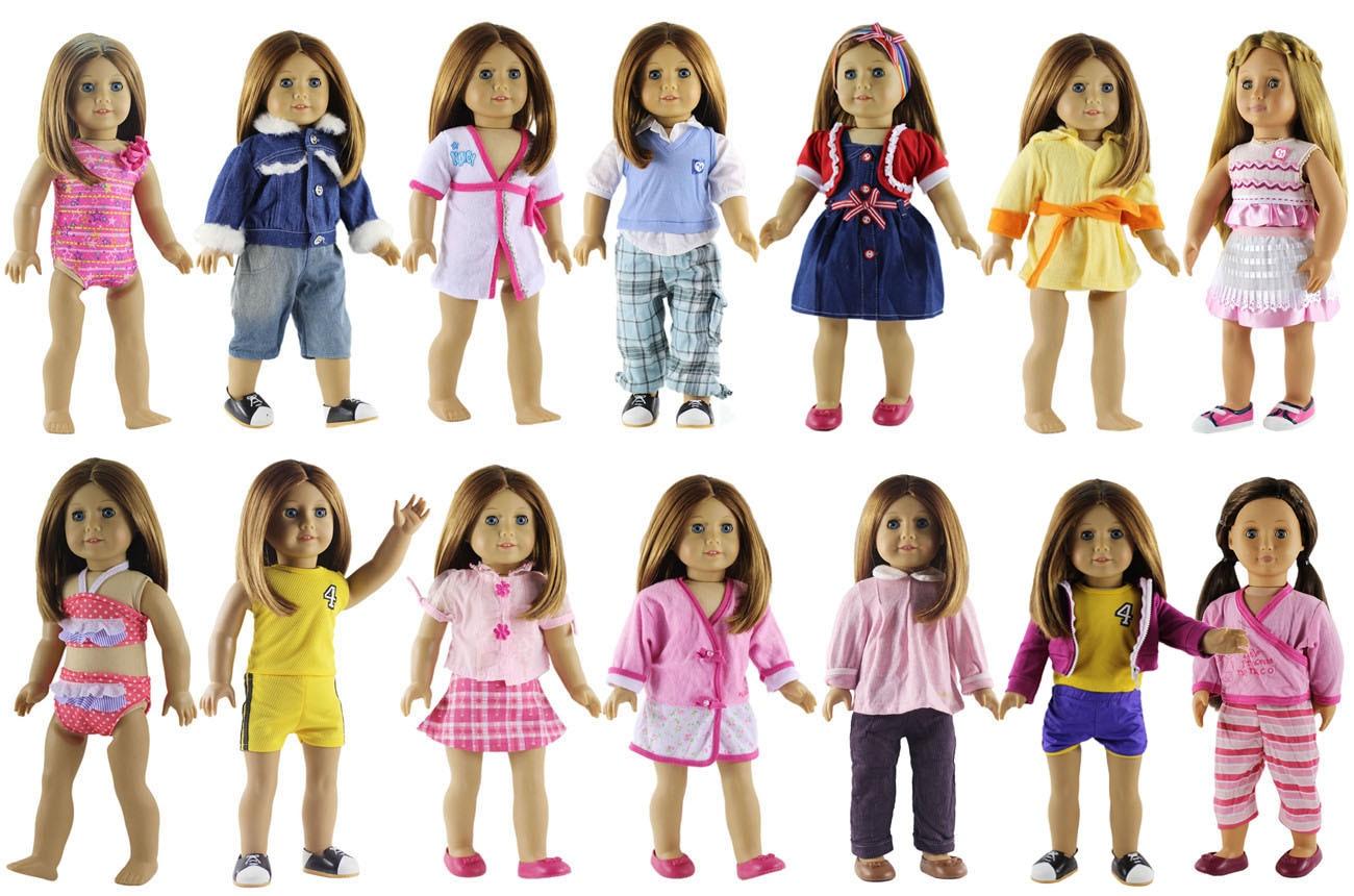 新 10 セット洋服人形 18 インチアメリカ人形姫衣装ドレス衣装  グループ上の おもちゃ & ホビー からの 人形アクセサリー の中 1