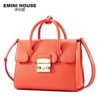 EMINI HOUSE Split Leather Top Handle Women Shoulder Bag Fashion Crossbady Bags High Quality Women Messenger