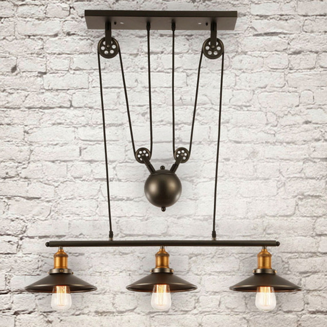 Loft vintage retro wrought iron black chandelier adjustable pulley loft vintage retro wrought iron black chandelier adjustable pulley industrial lamps e27 edison pendant lamp home aloadofball Images