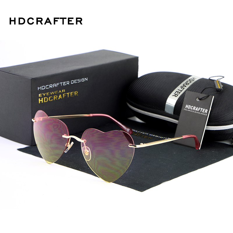 HDCRAFTER Brand Women's Rimless Sunglasses Colorful Gradient Lens Glasses Good quality Driving Star Sun Q50